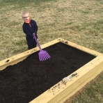 Brody helped me fill it with dirt.