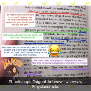 This BookSnap was created by a student on SeeSaw and then shared by a teacher.