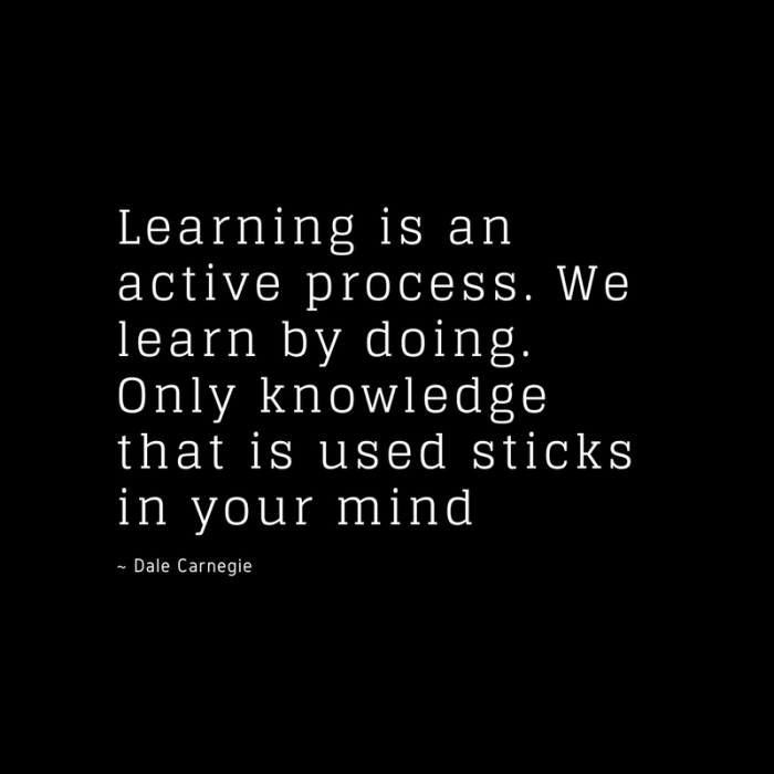 Learning is an active process. We learn by doing. Only knowledge that is used sticks in your mind